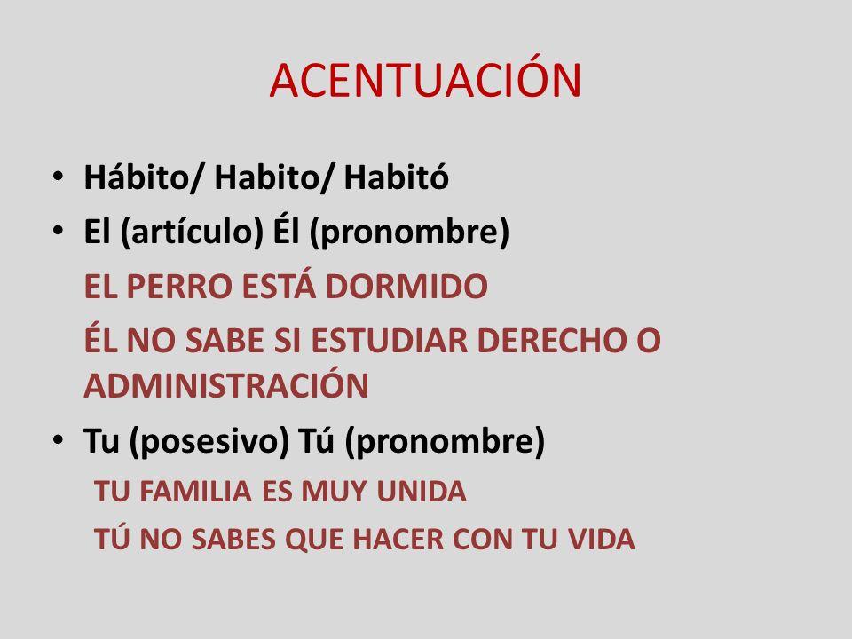 ACENTUACIÓN Hábito/ Habito/ Habitó El (artículo) Él (pronombre)