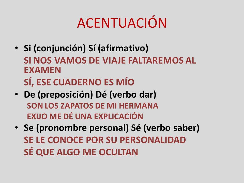 ACENTUACIÓN Si (conjunción) Sí (afirmativo)