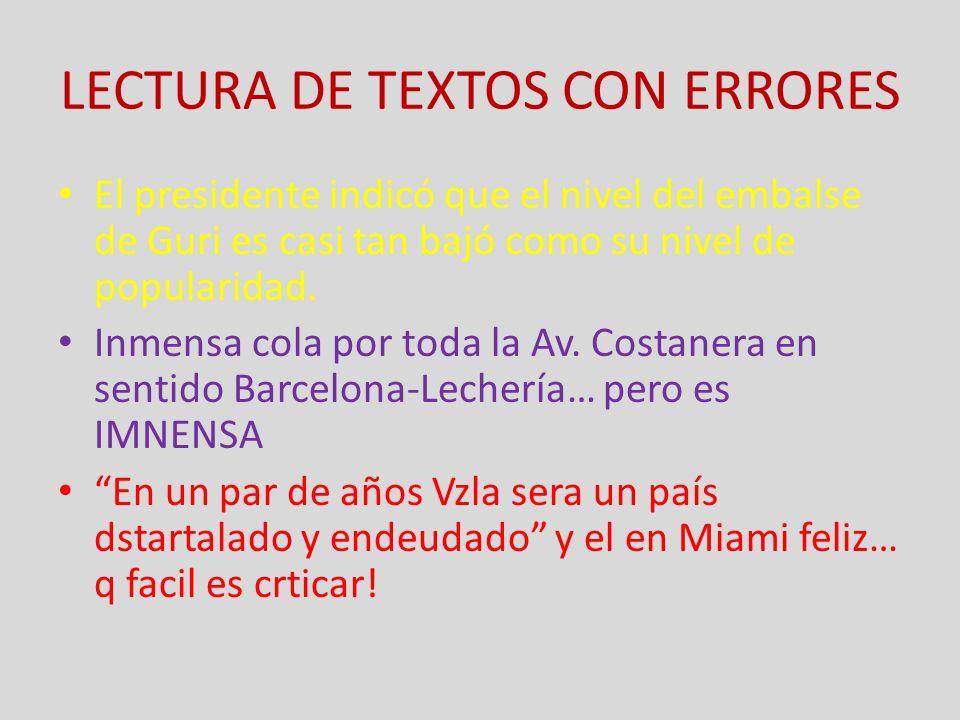 LECTURA DE TEXTOS CON ERRORES