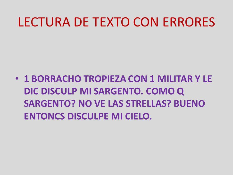 LECTURA DE TEXTO CON ERRORES