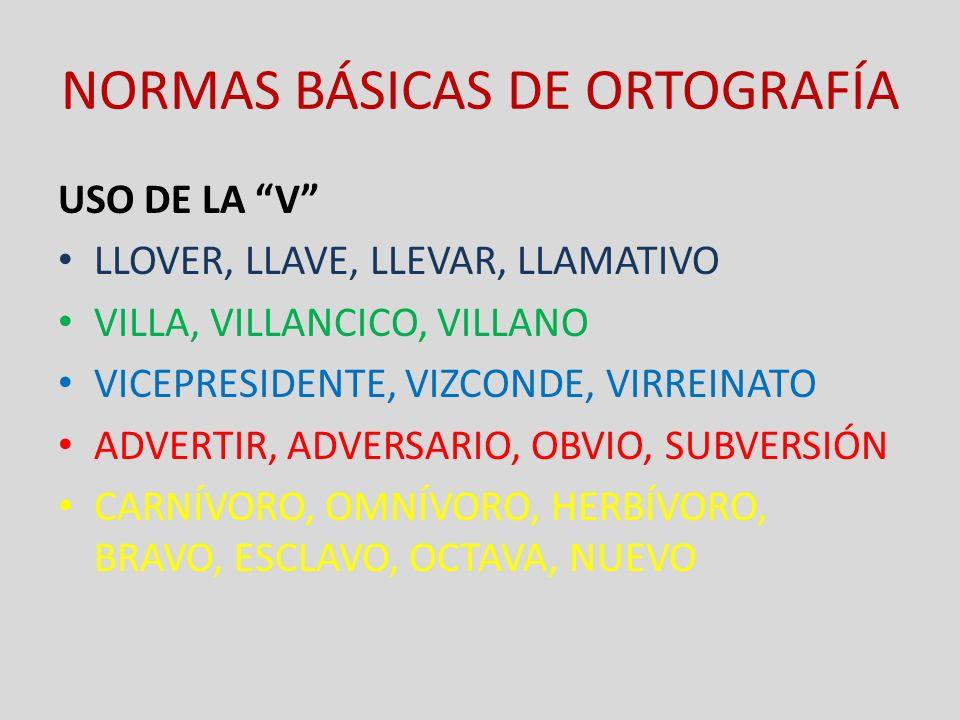 NORMAS BÁSICAS DE ORTOGRAFÍA