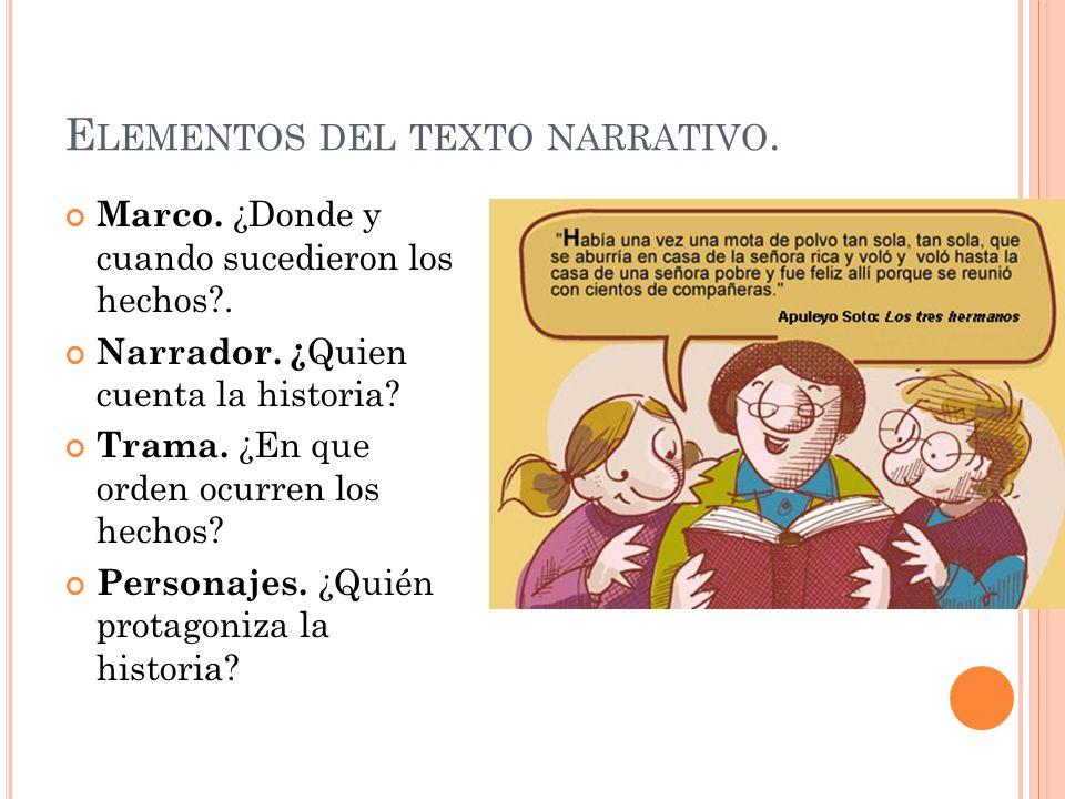 Elementos del texto narrativo.