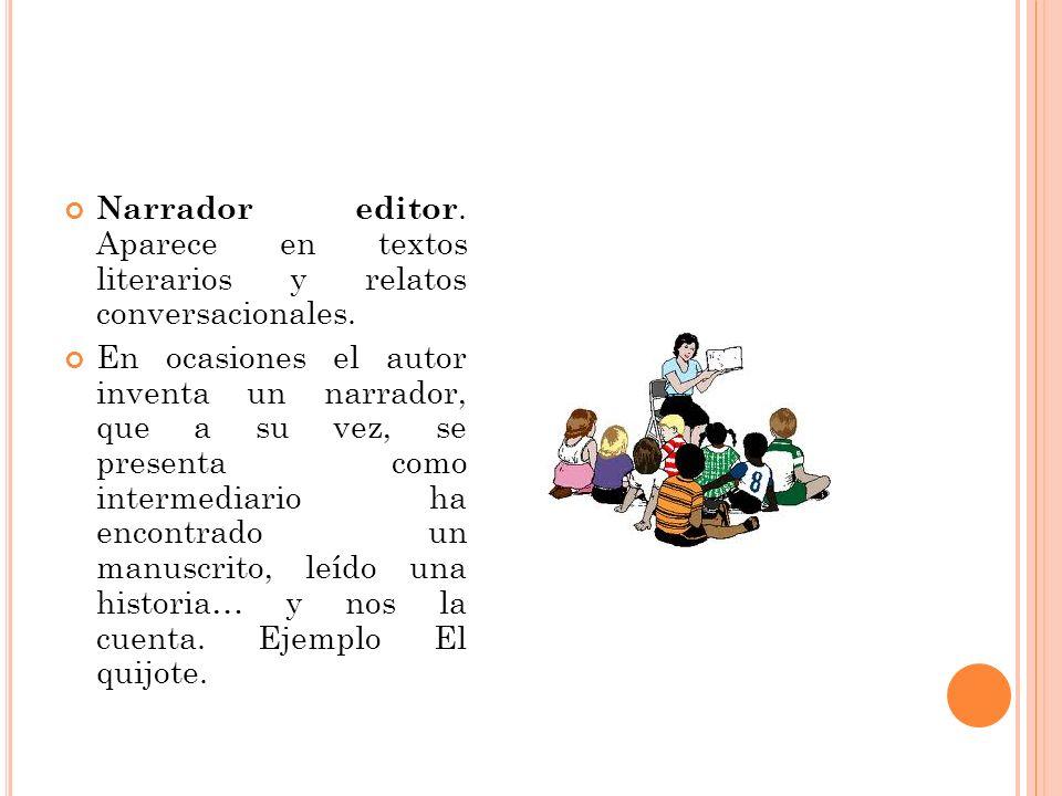 Narrador editor. Aparece en textos literarios y relatos conversacionales.
