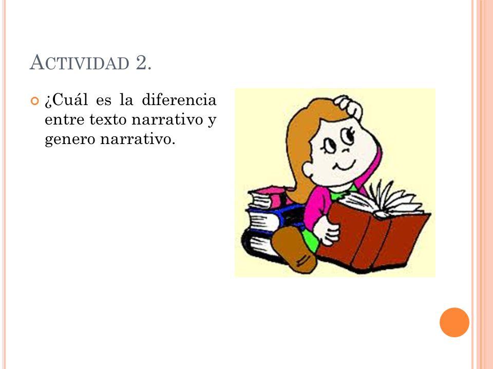 Actividad 2. ¿Cuál es la diferencia entre texto narrativo y genero narrativo.