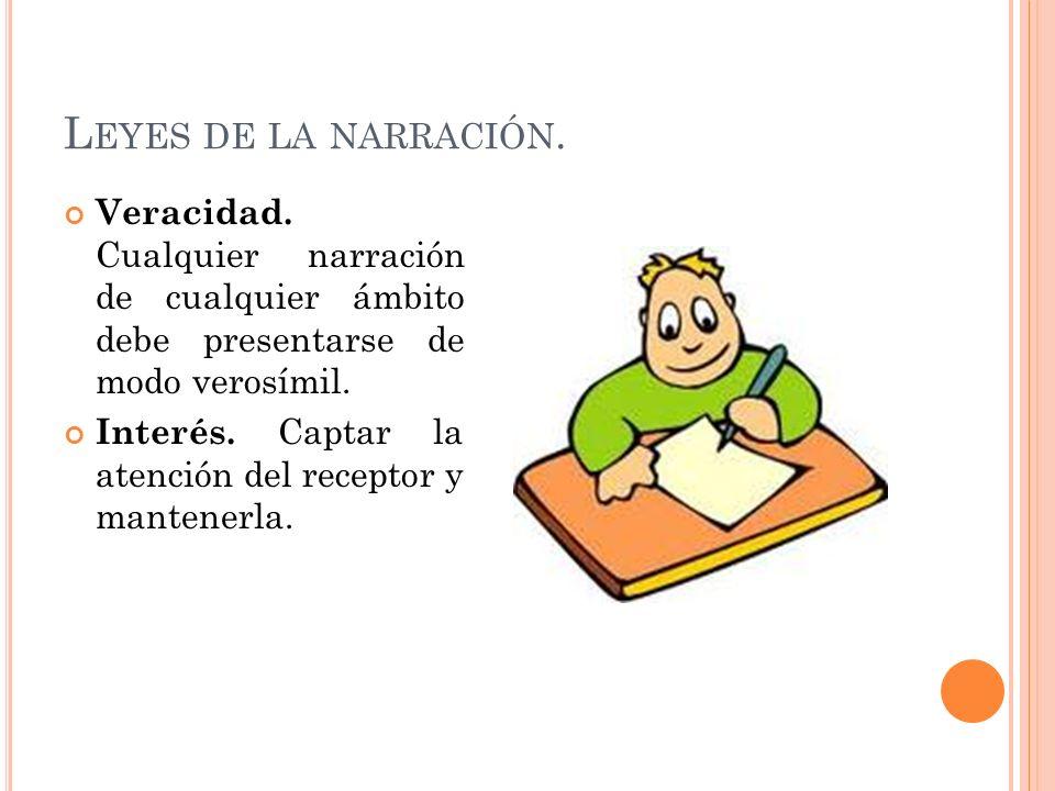 Leyes de la narración. Veracidad. Cualquier narración de cualquier ámbito debe presentarse de modo verosímil.
