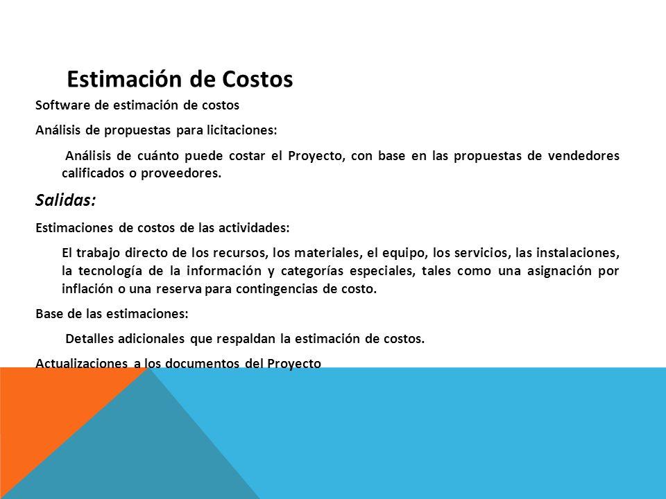 Estimación de Costos Salidas: Software de estimación de costos
