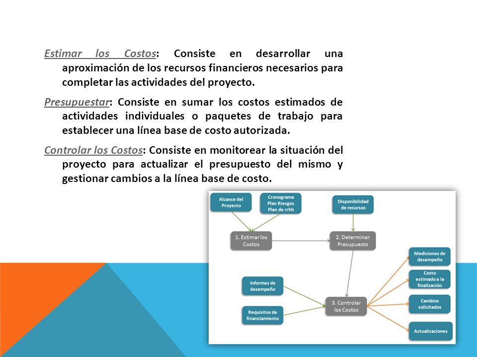 Estimar los Costos: Consiste en desarrollar una aproximación de los recursos financieros necesarios para completar las actividades del proyecto.