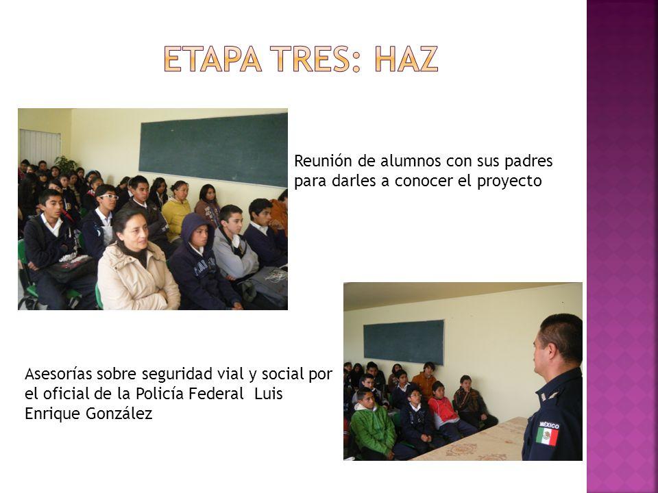 Etapa tres: HAZ Reunión de alumnos con sus padres para darles a conocer el proyecto.