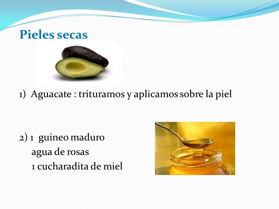 Pieles secas 1) Aguacate : trituramos y aplicamos sobre la piel