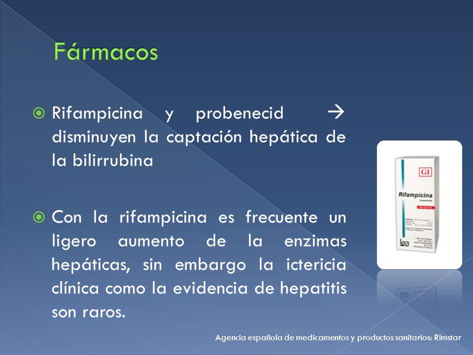 Fármacos Rifampicina y probenecid  disminuyen la captación hepática de la bilirrubina.