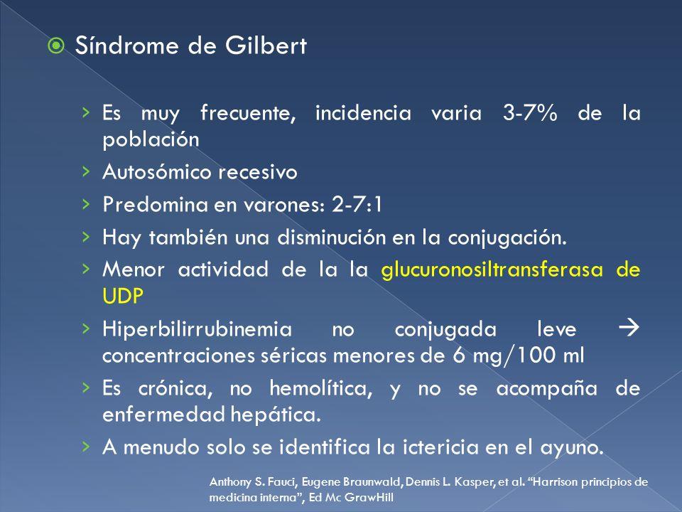 Síndrome de Gilbert Es muy frecuente, incidencia varia 3-7% de la población. Autosómico recesivo. Predomina en varones: 2-7:1.