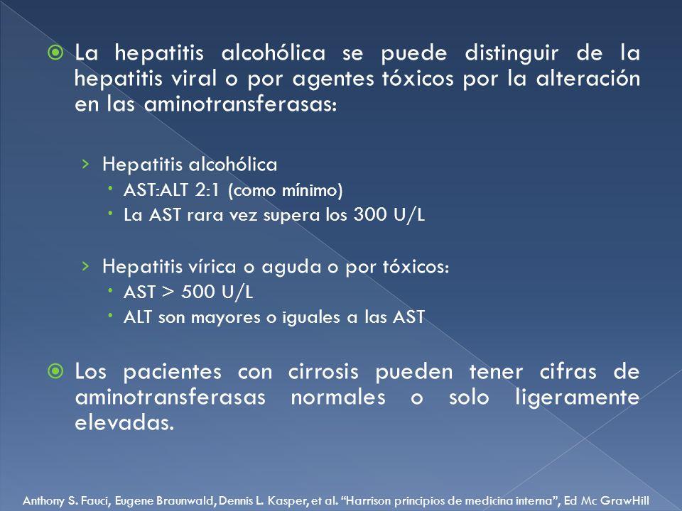 La hepatitis alcohólica se puede distinguir de la hepatitis viral o por agentes tóxicos por la alteración en las aminotransferasas: