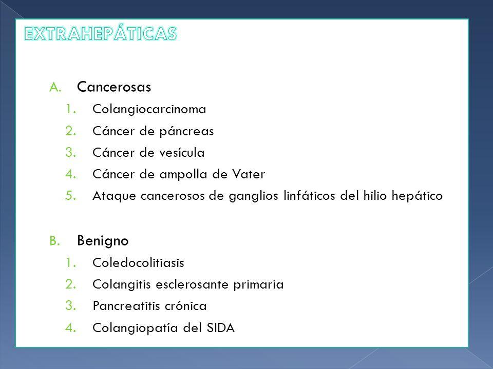 EXTRAHEPÁTICAS Cancerosas Benigno Colangiocarcinoma Cáncer de páncreas