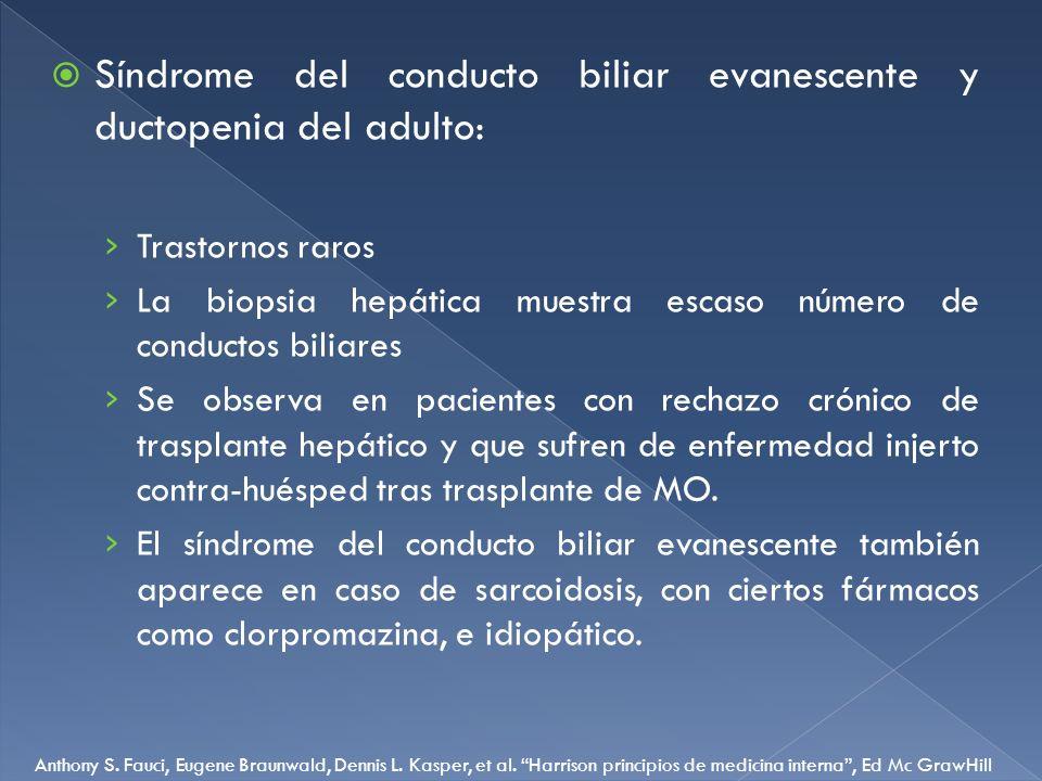 Síndrome del conducto biliar evanescente y ductopenia del adulto: