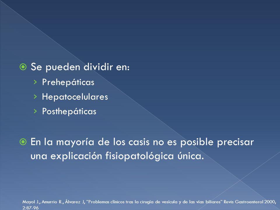 Se pueden dividir en: Prehepáticas. Hepatocelulares. Posthepáticas.