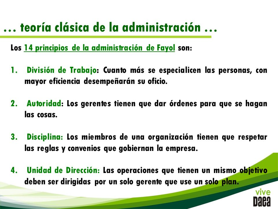 … teoría clásica de la administración …