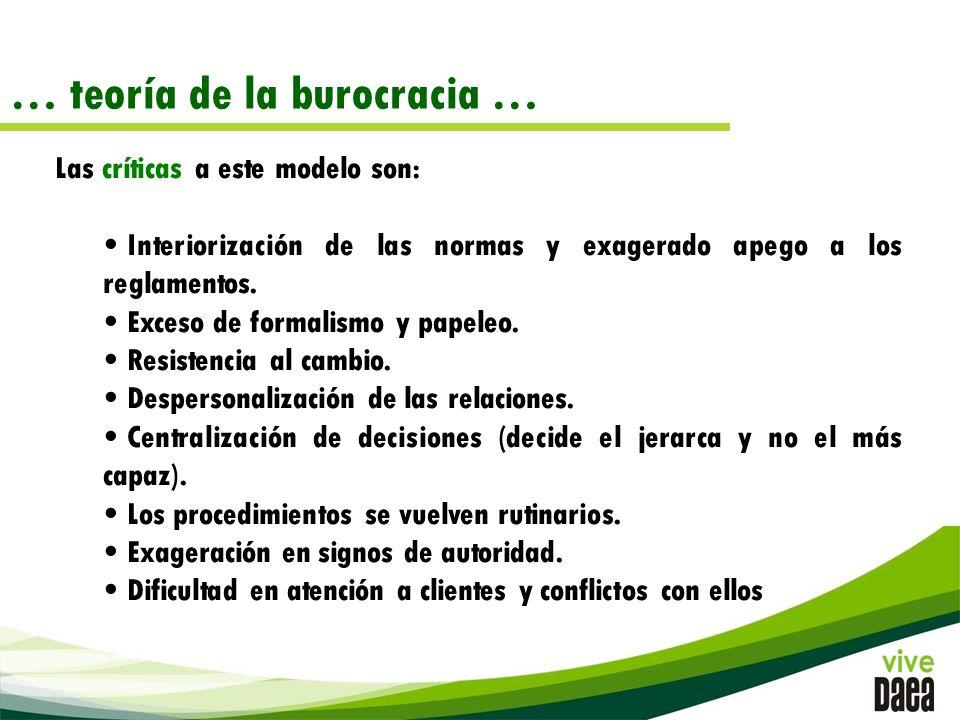 … teoría de la burocracia …