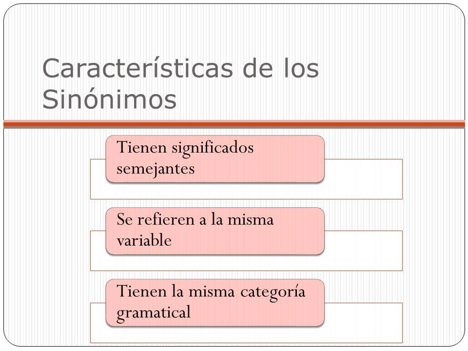 Características de los Sinónimos