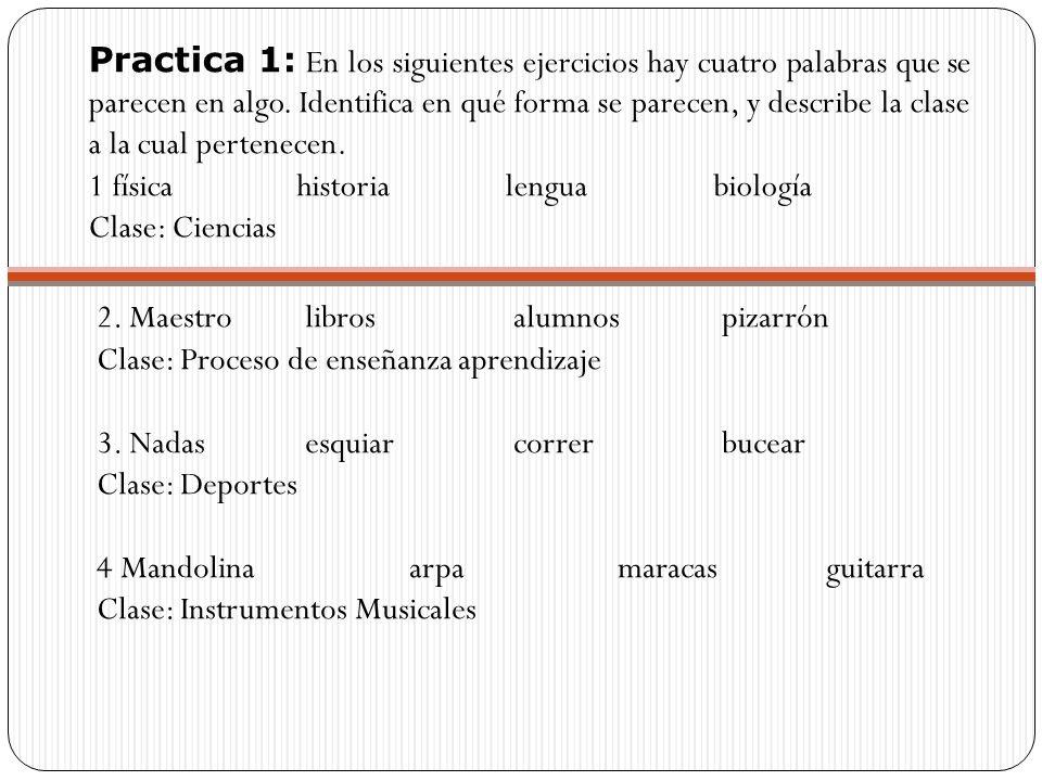 Practica 1: En los siguientes ejercicios hay cuatro palabras que se parecen en algo. Identifica en qué forma se parecen, y describe la clase a la cual pertenecen.