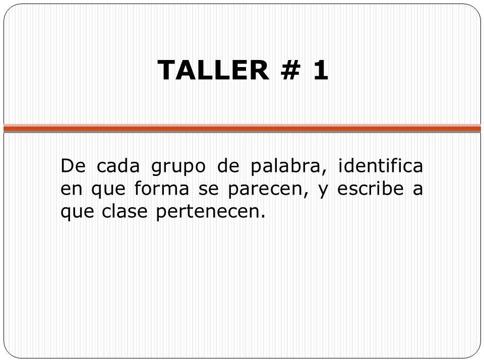 TALLER # 1 De cada grupo de palabra, identifica en que forma se parecen, y escribe a que clase pertenecen.