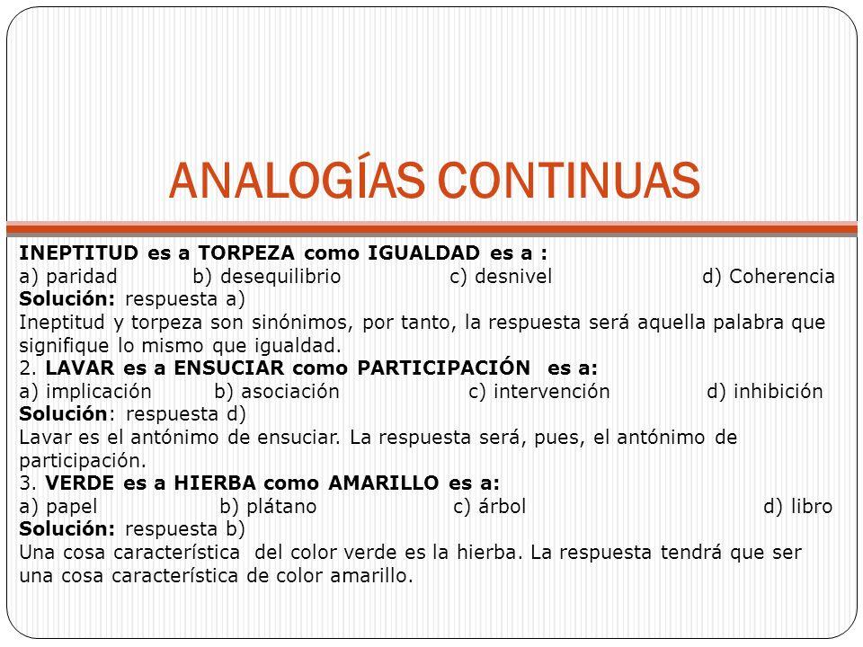 ANALOGÍAS CONTINUAS INEPTITUD es a TORPEZA como IGUALDAD es a :