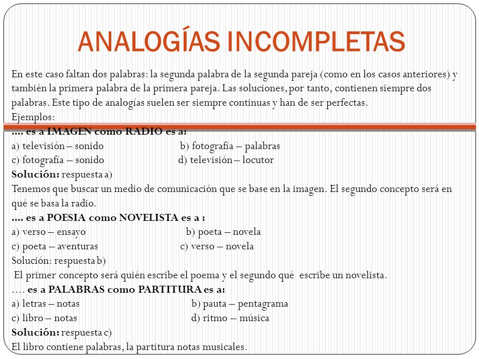 ANALOGÍAS INCOMPLETAS