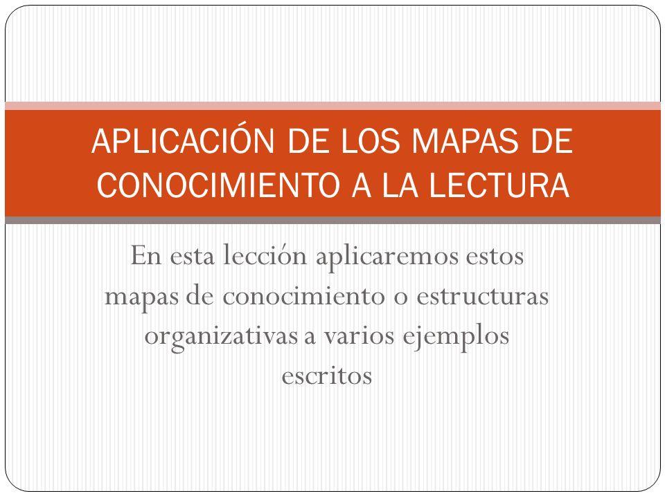 APLICACIÓN DE LOS MAPAS DE CONOCIMIENTO A LA LECTURA