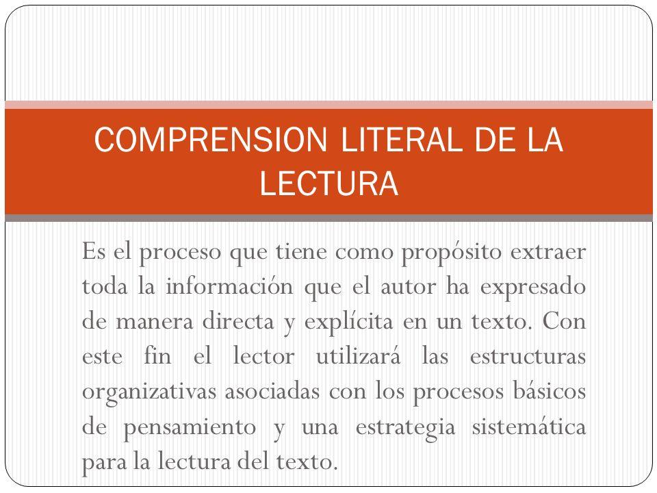 COMPRENSION LITERAL DE LA LECTURA