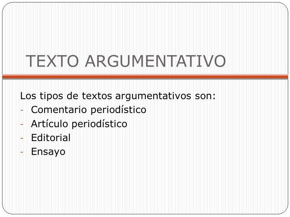 TEXTO ARGUMENTATIVO Los tipos de textos argumentativos son:
