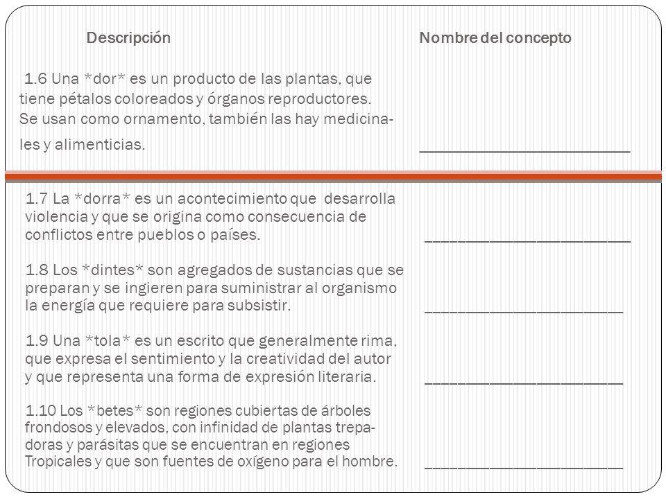 Descripción. Nombre del concepto 1. 6 Una. dor