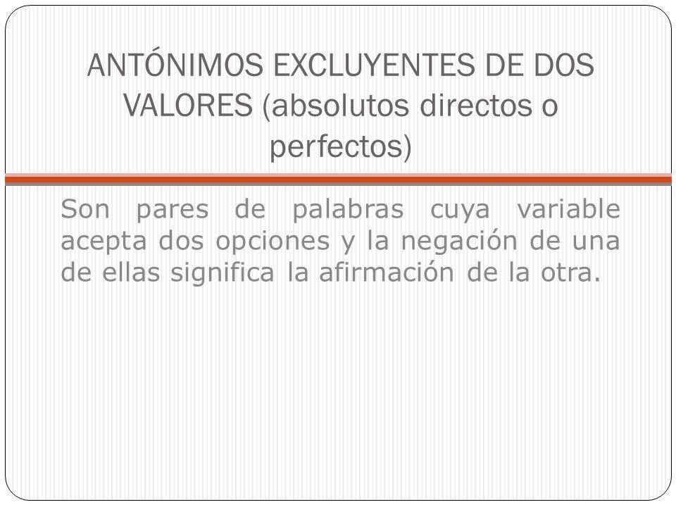 ANTÓNIMOS EXCLUYENTES DE DOS VALORES (absolutos directos o perfectos)