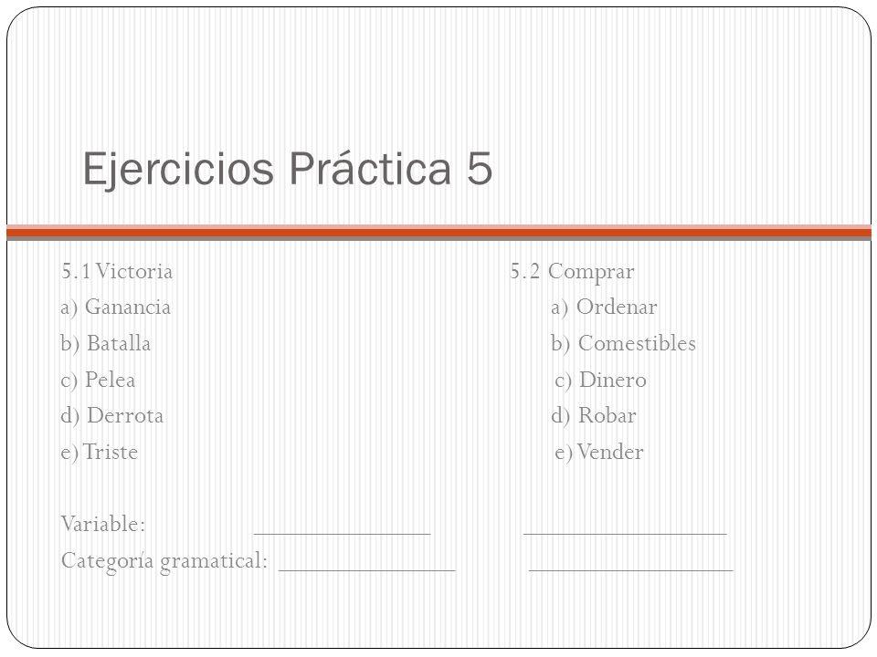 Ejercicios Práctica 5 5.1 Victoria 5.2 Comprar a) Ganancia a) Ordenar