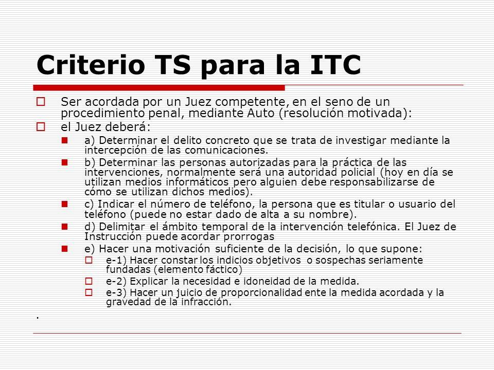 Criterio TS para la ITC Ser acordada por un Juez competente, en el seno de un procedimiento penal, mediante Auto (resolución motivada):