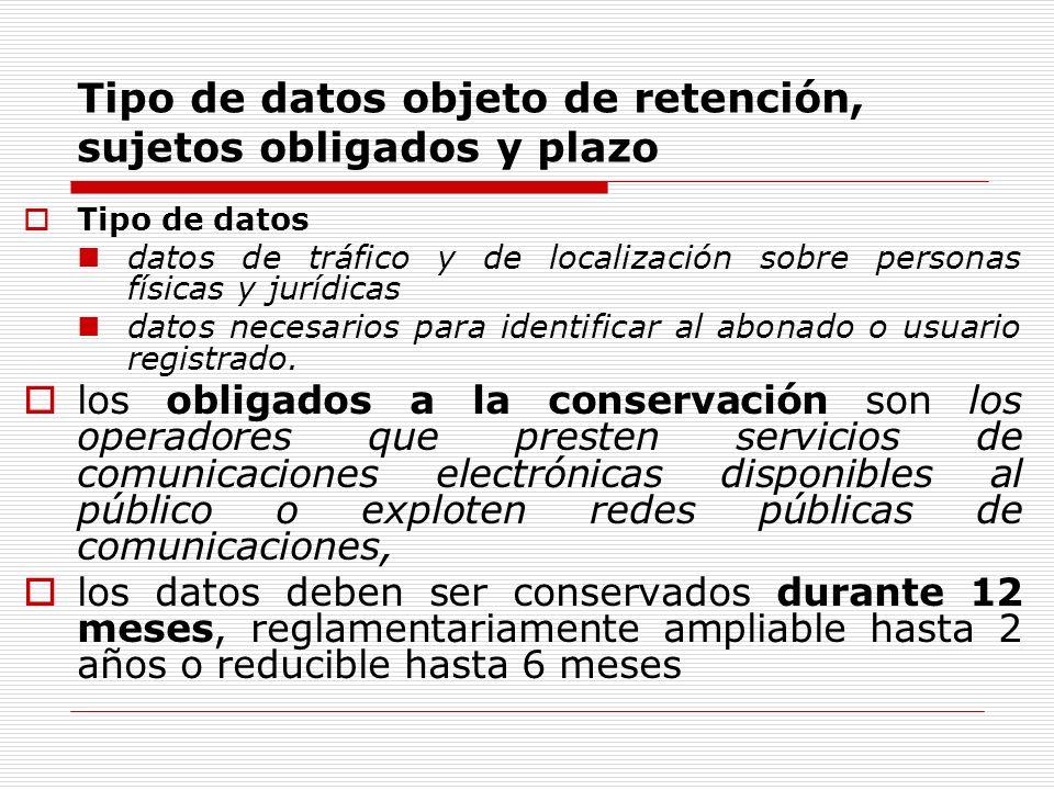 Tipo de datos objeto de retención, sujetos obligados y plazo