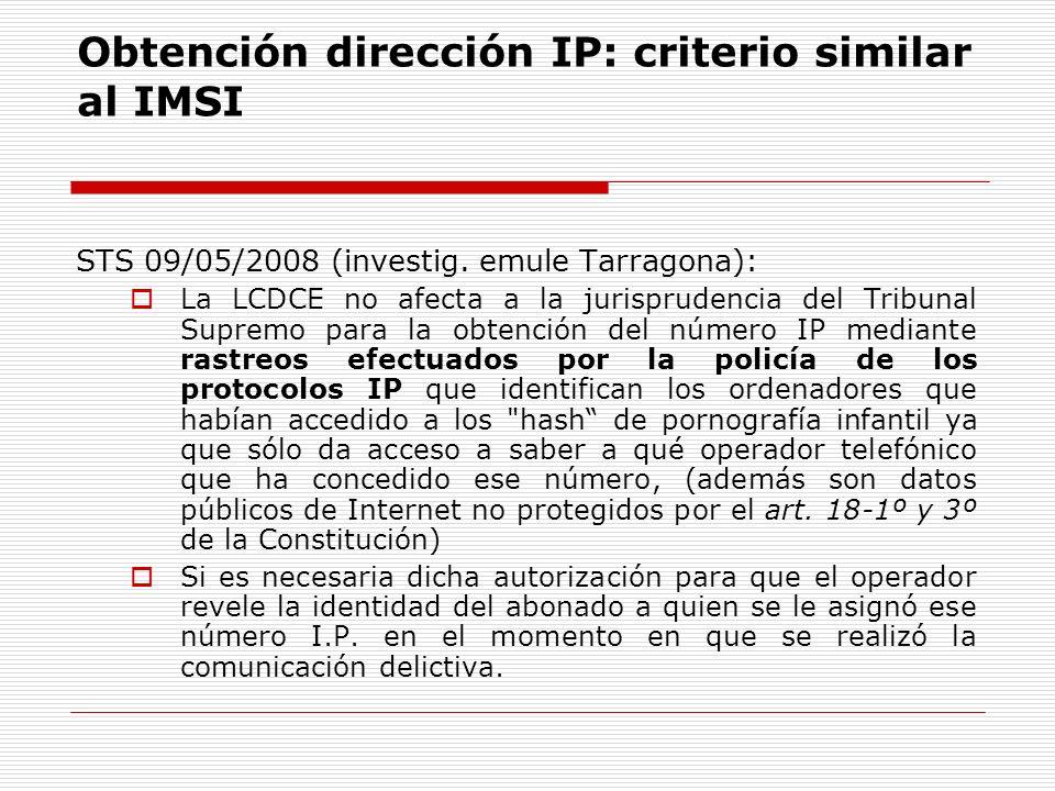 Obtención dirección IP: criterio similar al IMSI