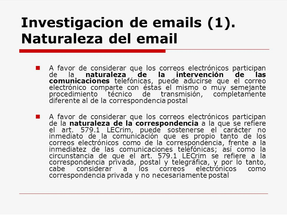 Investigacion de emails (1). Naturaleza del email