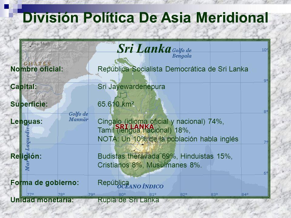 División Política De Asia Meridional