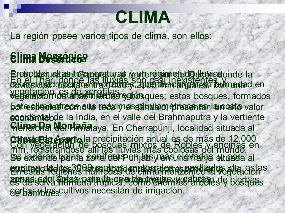 CLIMA La región posee varios tipos de clima, son ellos: