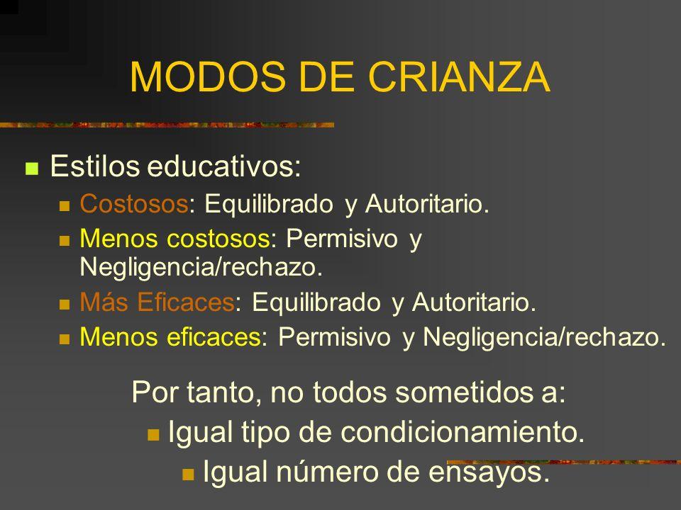 MODOS DE CRIANZA Estilos educativos: Por tanto, no todos sometidos a: