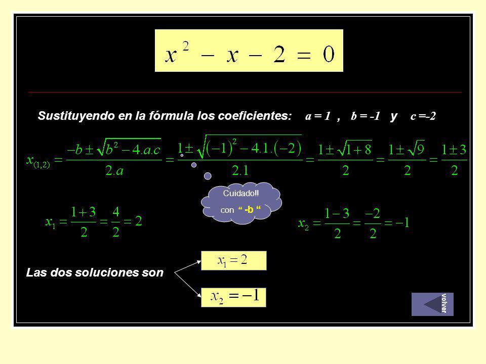 Sustituyendo en la fórmula los coeficientes: a = 1 , b = -1 y c =-2