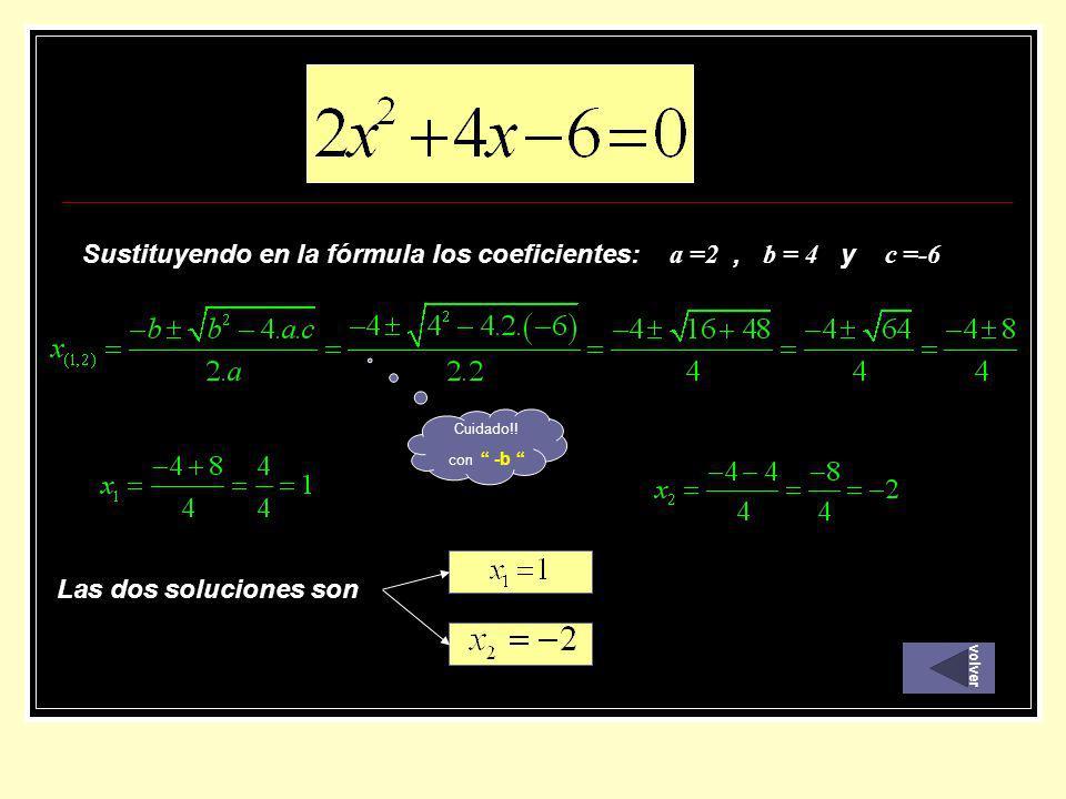 Sustituyendo en la fórmula los coeficientes: a =2 , b = 4 y c =-6