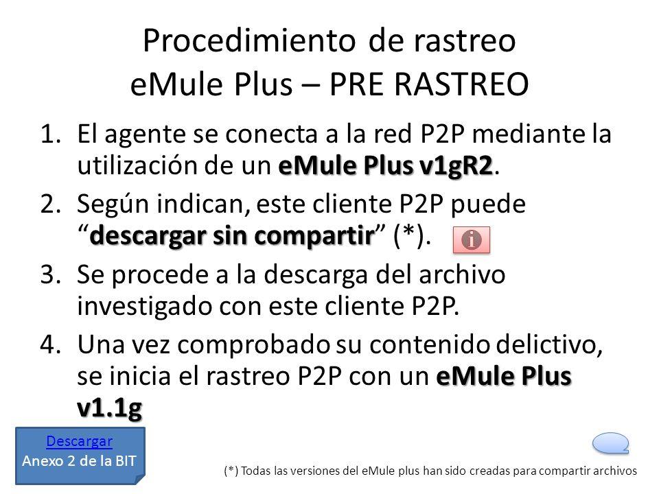 Procedimiento de rastreo eMule Plus – PRE RASTREO