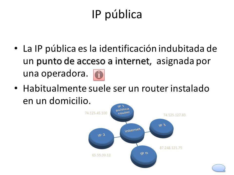 IP pública La IP pública es la identificación indubitada de un punto de acceso a internet, asignada por una operadora.