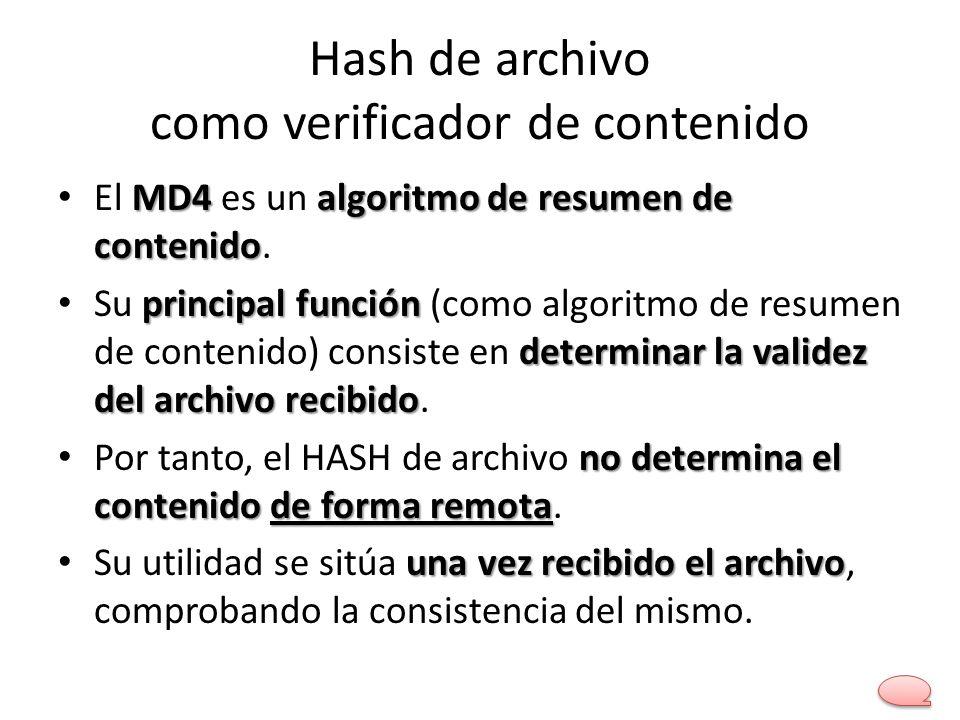 Hash de archivo como verificador de contenido