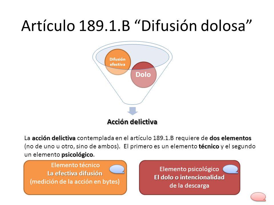 Artículo 189.1.B Difusión dolosa