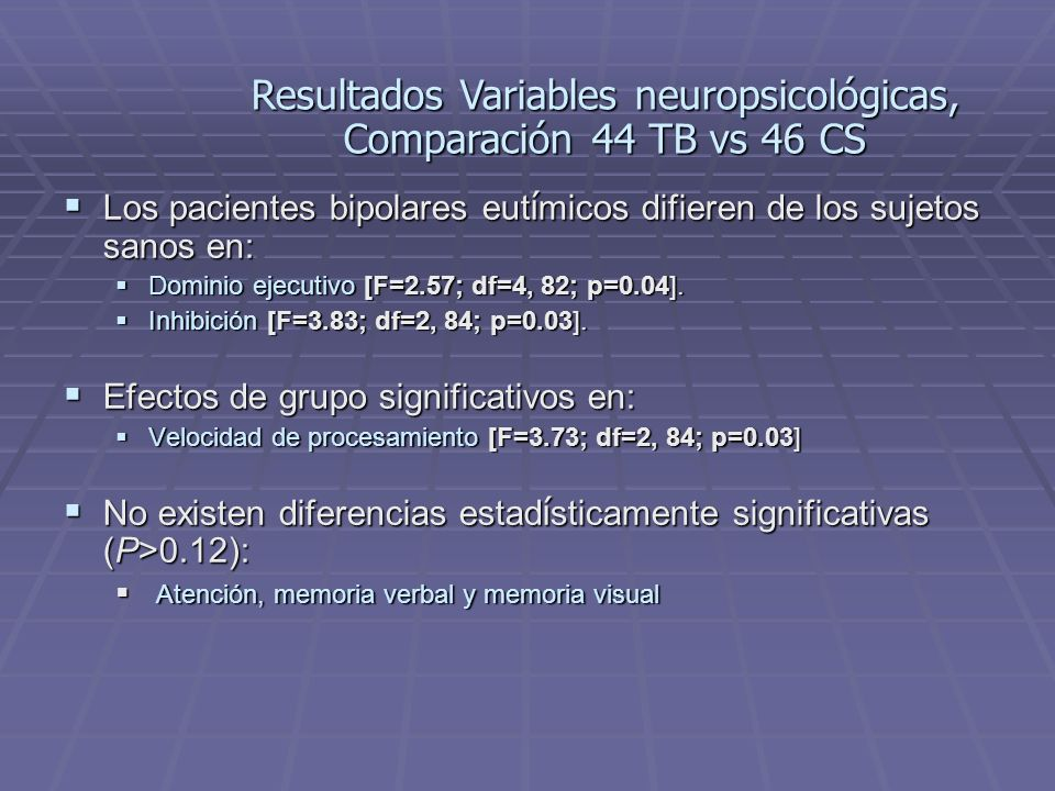 Resultados Variables neuropsicológicas, Comparación 44 TB vs 46 CS