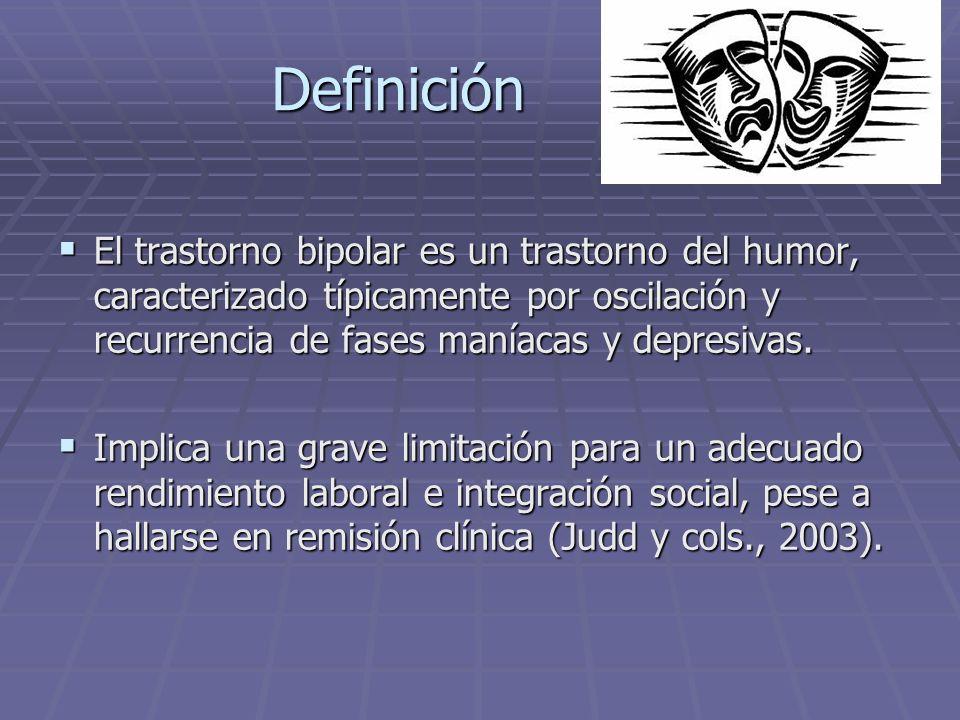 Definición El trastorno bipolar es un trastorno del humor, caracterizado típicamente por oscilación y recurrencia de fases maníacas y depresivas.