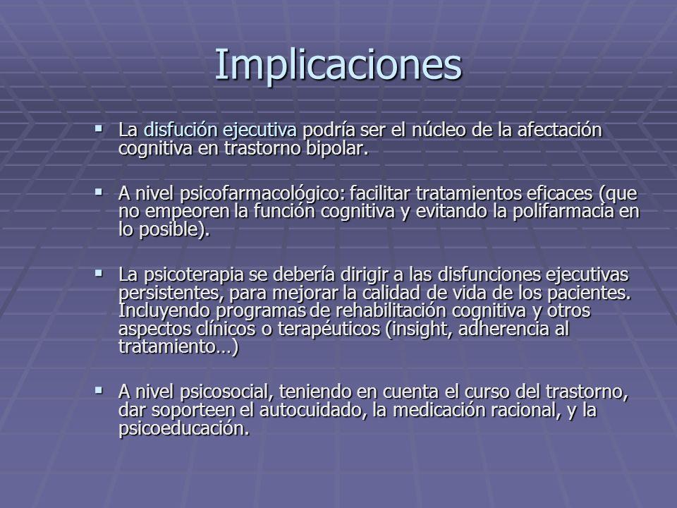 Implicaciones La disfución ejecutiva podría ser el núcleo de la afectación cognitiva en trastorno bipolar.