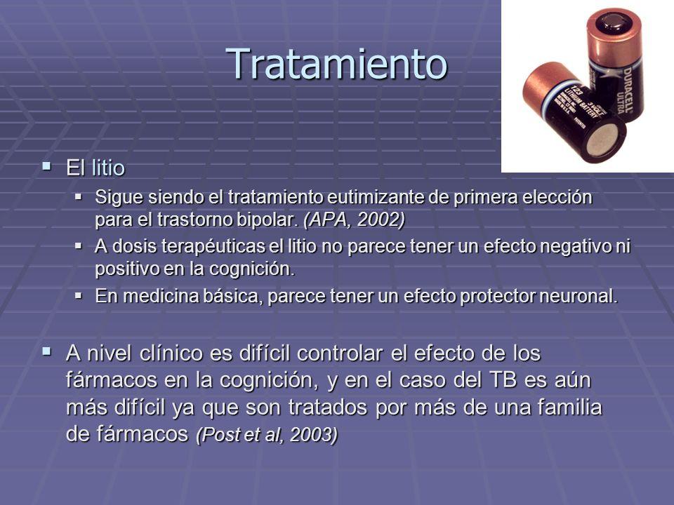 Tratamiento El litio. Sigue siendo el tratamiento eutimizante de primera elección para el trastorno bipolar. (APA, 2002)