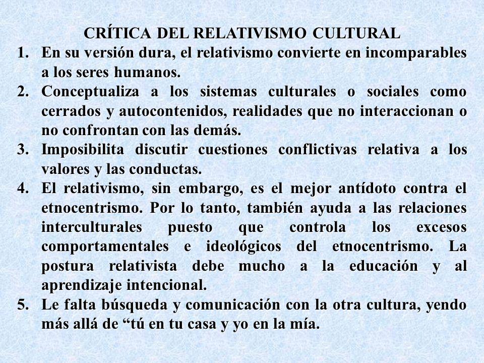 CRÍTICA DEL RELATIVISMO CULTURAL